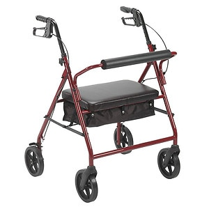 Drive Medical Bariatric Rollator with 8in Wheels, Red