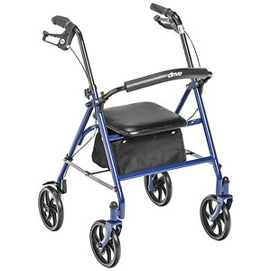 Drive Medical Four Wheel Walker Rollator with Fold Up Removable