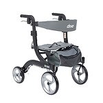 Drive Medical Nitro Euro Style Walker Rollator, Hemi Height, Black- 1 ea