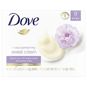 Dove Purely Pampering Beauty Bar, Sweet Cream and Peony, 8 Bar, 4 oz