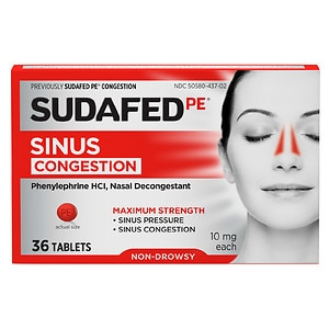 Sudafed PE Sinus Congestion Max Strength Non-Drowsy Tablets