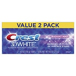 Crest 3D White Toothpaste, Radiant Mint, 2 pk- 4.8 oz