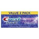 Crest 3D White Toothpaste, Radiant Mint, 2 pk- 4.8 oz