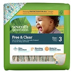 Seventh Generation Free & Clear Sensitive Skin Baby Diapers, Value Pack, Animal Prints, Stage 3, 16-28 lbs, 5 pk- 31 ea