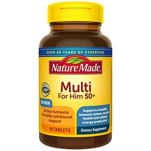 Nature Made Multi for Him 50+, Complete Multi Vitamin/Mineral, Tablets- 90 ea