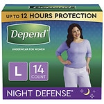 Depend Night Defense Incontinence Overnight Underwear for Women, Large- 14 ea