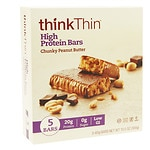 thinkThin High Protein Bars, Chunky Peanut Butter, 5 pk- 2.1 oz