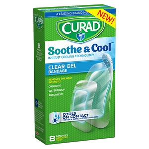 Curad Soothe & Cool Instant Cooling Technology Clear Gel Bandages, Assorted