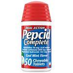 Pepcid Complete Acid Reducer + Antacid Chewable Tablets, Cool Mint Flavor- 50 ea