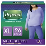 Depend Night Defense Incontinence Overnight Underwear for Women, Extra Large- 26 ea