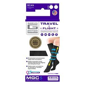 Neo G Travel & Flight Compression Socks, Black, Small, 1 ea