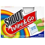 Shout Wipe & Go, Portable Stain Treater Towelettes- 12 ea
