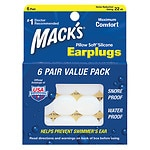 Mack's Pillow Soft Silicone Earplugs, Clear, Value Pack- 6 pr