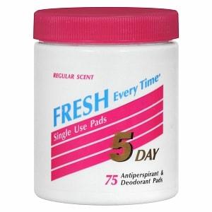 5 Day Antiperspirant & Deodorant Pads, Regular- 75 ea