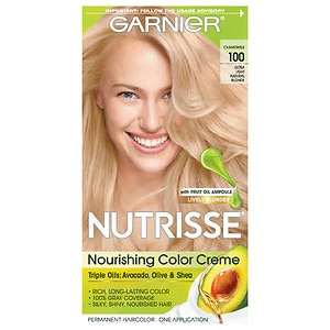 Garnier Nutrisse Level 3 Permanent Creme Haircolor, Extra-Light Natural Blonde 100 Chamomile