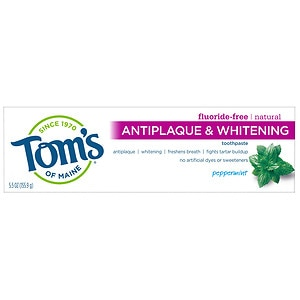 Tom's of Maine Antiplaque & Whitening, Fluoride-Free Natural Toothpaste, Peppermint- 5.5 oz