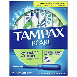 Tampax Pearl Tampons, Unscented, Super- 18 ea