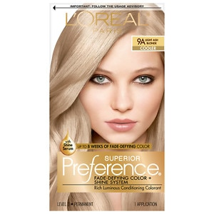 L'Oreal Paris Preference Fade Defying Color & Shine System, Permanent, Light Ash Blonde 9A