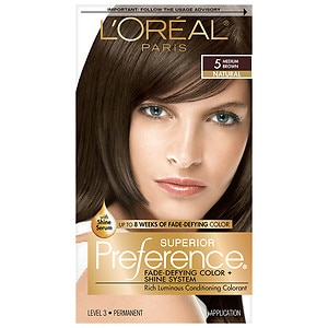 L'Oreal Paris Preference Fade Defying Color & Shine System, Permanent, Medium Brown 5