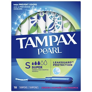 Tampax Pearl Tampons with Pearl Plastic Applicator, Fresh Scent, Super, 18 ea- 1 box