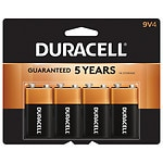 Duracell Coppertop Alkaline Batteries , 9V- 4 ea