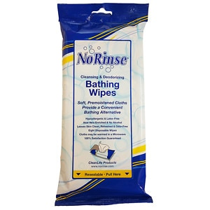 No Rinse Cleansing & Deodorizing Bathing Wipes- 8 ea