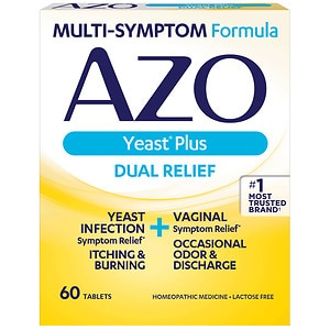 AZO Yeast, Natural Symptom Prevention & Relief, 400mg, Tablets- 60 ea