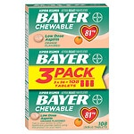Bayer Low Dose Aspirin Pain Reliever, 81mg, Chewable Tablets, Value Pack, Orange- 108 ea