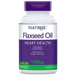 Natrol Omega-3 Flax Seed Oil, 1000mg, Softgels- 200 ea