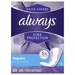 Always Xtra Protection Daily Liners, Regular, Unscented- 50 ea