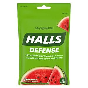 Halls Defense Vitamin C Supplement Drops, Watermelon- 30 ea