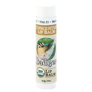 Badger Classic Lip Balm, Unscented- .15 oz