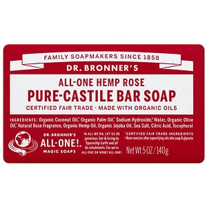 Dr. Bronner's All-One Hemp Pure-Castile Bar Soap, Rose- 5 oz
