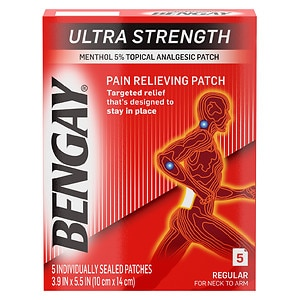 BenGay Ultra Strength Pain Relieving Patch, Regular for Neck to Arm- 5 ea