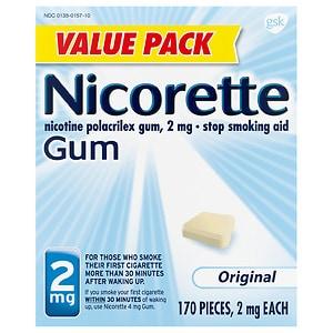 Nicorette Nicotine Gum, 2 mg, Original- 170 ea