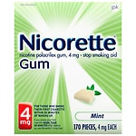 Nicorette Nicotine Gum, 4 mg, Mint- 170 ea